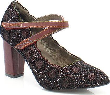 avec Semelle Comfortable Marron Chaussures de Ville /Ét/é Ballerines Artisanale Cousu /à la Main Style Original Fleurs LAURA VITA Cuir Femmes 6693